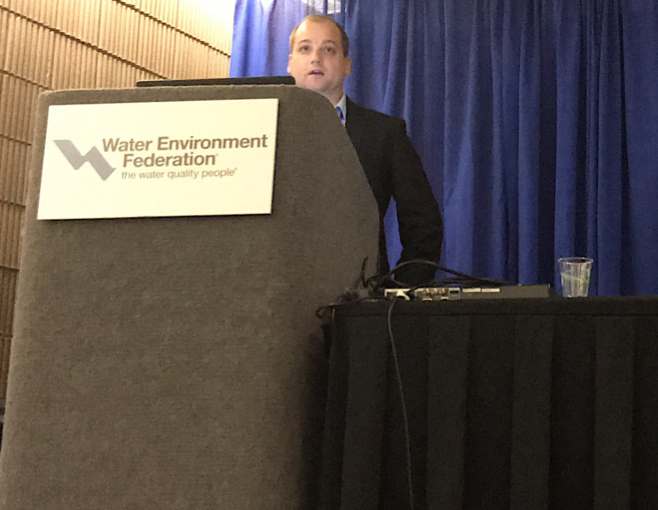 Imre Tóth presents his paper on water aeration at WEFTEC 2018